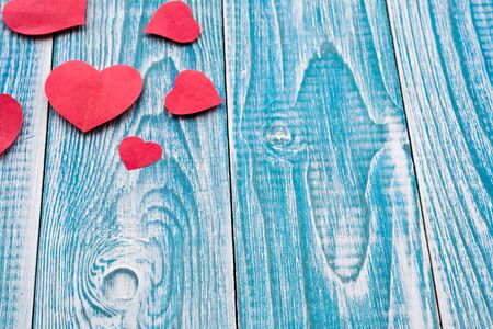 Beautiful decorative hearts on wooden background. Valentines day. mothers day.