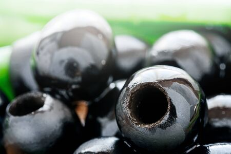 Background of pitted Olives-close-up, macro 免版税图像