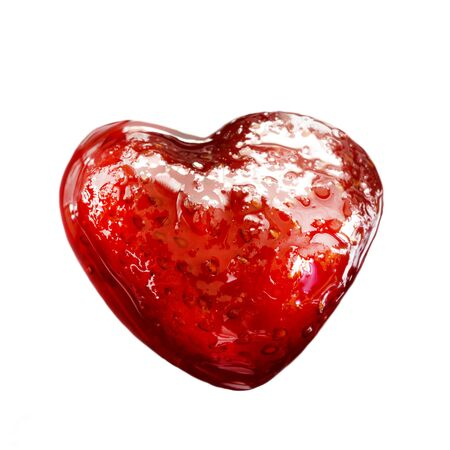 Strawberry jam in a heart shape isolated