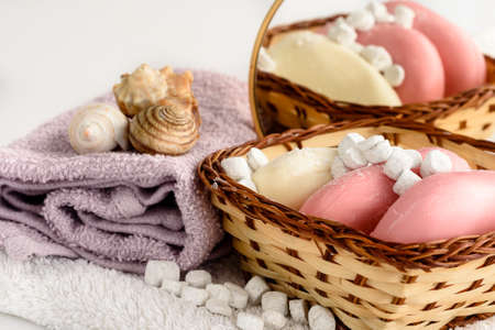 Toilet soap, foam, towel - Spa products. Hygiene and cleanliness of the body. Stok Fotoğraf