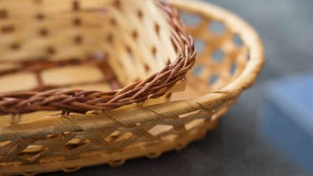 Set of wicker baskets on a dark background