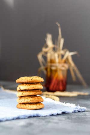 Fresh oatmeal cookies on a dark background Standard-Bild