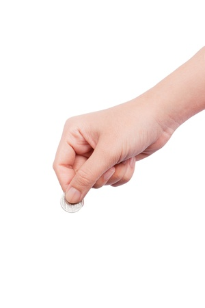 human hand with coin Stock Photo