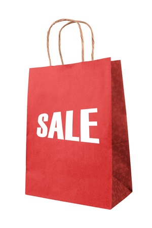 sale red paper bag Stock Photo