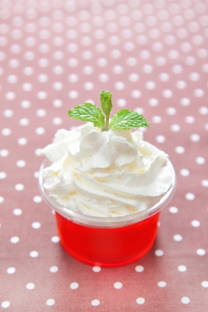 jelly with whipped cream on top