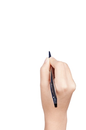 hand with pen on white background Stock Photo