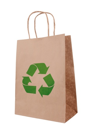 Ecological brown paper bag with recycling symbol
