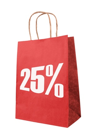 Red paper bag with symbol on sale.