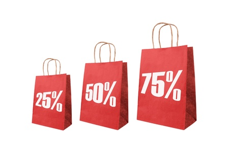 Red paper bag with symbol on sale  photo