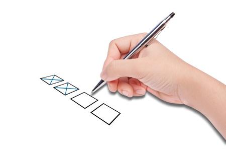 Human hand checklist
