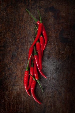 red chili on wood table