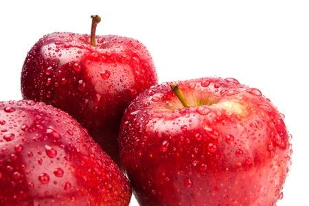 big fresh three apple isolate on white Stock Photo