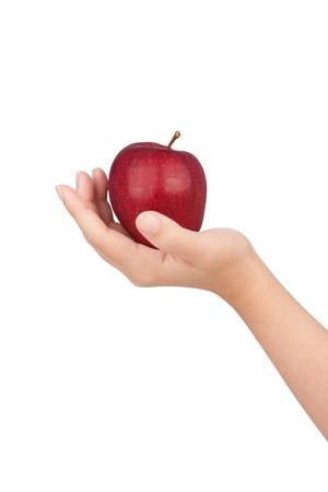 human hand with apple isolate on whit background photo