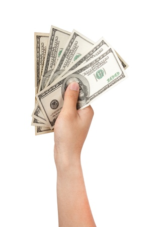 one hundred dollars: human hand with money isolate on white Stock Photo