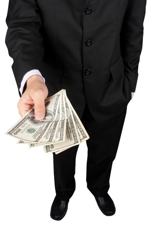 business man giving a money