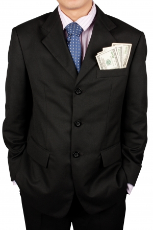 only man: businessman with a money in a pocket isolate on white