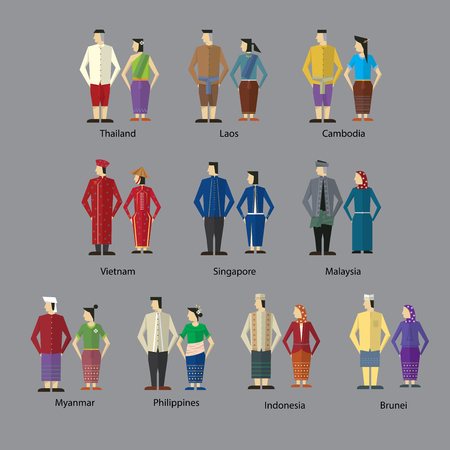 malaysia culture: A  community costume icon Illustration