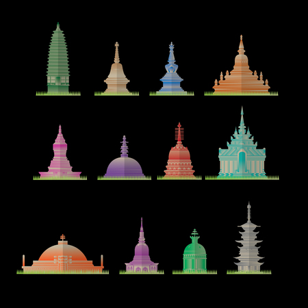 仏舎利塔のアイコンのグループ