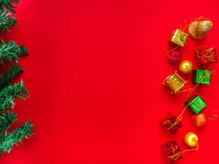 Christmas tree decorations, gift boxes, ball drop