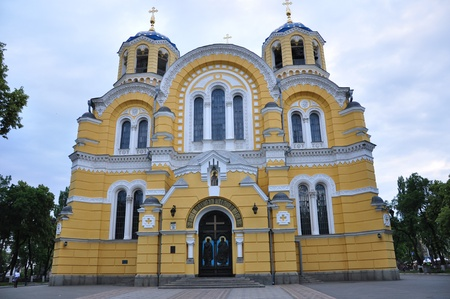 Cathedral of St. Vladimir in Kiev. Evening. Stock Photo