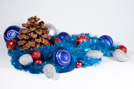Festive Christmas composition of cones and spheres Stock Photo