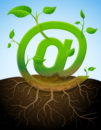 bine: Growing mail symbol like plant with leaves and roots  Stylized plant in shape of at sign in ground  Qualitative vector  EPS-10  illustration about internet, communication services, information technology, email, telecommunication, etc