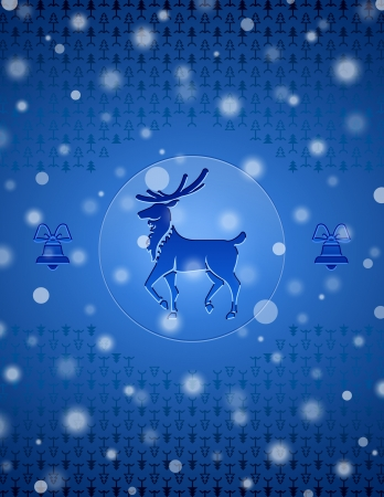 new year s day: Christmas snow background with deer and bells  New Year backdrop with christmas symbols and falling snow  Qualitative vector  EPS-10  backdrop for new year s day, christmas, decoration, winter holiday, design, new year s eve, silvester, etc Illustration