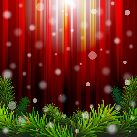 Christmas red background with pine branches against lighting  New Year backdrop with falling snow  Qualitative vector  EPS-10  illustration for new year s day, christmas, winter holiday, design, new year s eve, silvester, etc