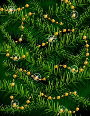 new year s day: Christmas tree branches and decorative beads  New Year backdrop with branches and decoration  Qualitative background for new year s day, christmas, winter holiday, design, new year s eve, silvester Illustration