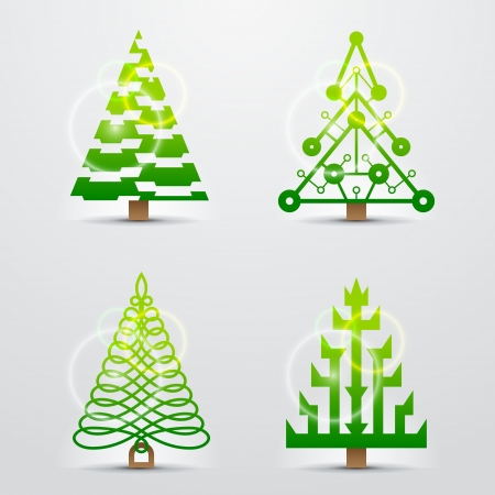 silvester: Stylized signs of christmas tree  Set of original vector christmas trees  Qualitative vector  EPS-10  design elements for new year s day, christmas, winter holiday, new year s eve, silvester, etc  It has transparent elements, blending modes, gradients