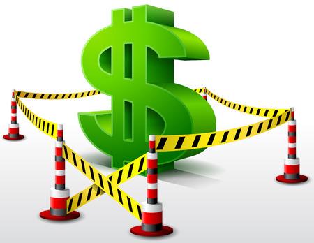 area restringida: S�mbolo del d�lar situado en la zona de la muestra del dinero Dangerous restringida rodeada barrera cinta cualitativa vector EPS-10 ilustraciones para la banca, la industria financiera, econom�a, contabilidad, etc