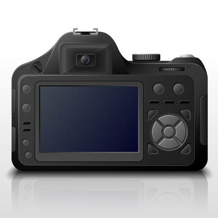 digicam: Back side of modern digital camera  Lcd screen of DSLR photo camera with control buttons  Qualitative vector image about photo, camera, digital photography, multimedia, photography equipment, etc