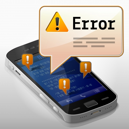 Smartphone with error message bubble  Dialog box pop up over screen of phone  Qualitative vector image about smartphone,  communication, mobile technology, notification, application prompting, etc