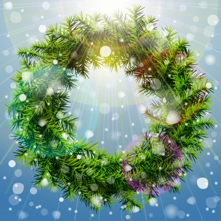 new year s eve: Christmas wreath with overhead lighting and snowfall  Wreath of pine branches without decoration  Vector image for new year s day, christmas, decoration, winter holiday, design, new year s eve, etc Illustration