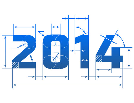 New Year 2014 number with dimension lines  Blueprint element in shape of 2014 year  Vector design element for new year s day, christmas, winter holiday, engineering, new year s eve, technologies, etc