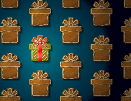 new year  s day: Gingerbreads in form of christmas gift with icing  Concept with group of holiday cookies  Vector illustration for new year s day, christmas, winter holiday, cooking, new year s eve, food, silvester