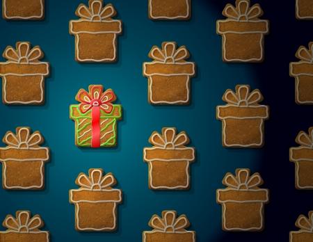 holiday cookies: Panes de jengibre en forma de regalo de Navidad con Concept guinda con un grupo de galletas holiday ilustraci�n vectorial para el d�a de a�o nuevo s, navidad, vacaciones de invierno, cocina, nuevo a�o s v�speras, comida, silvester Vectores