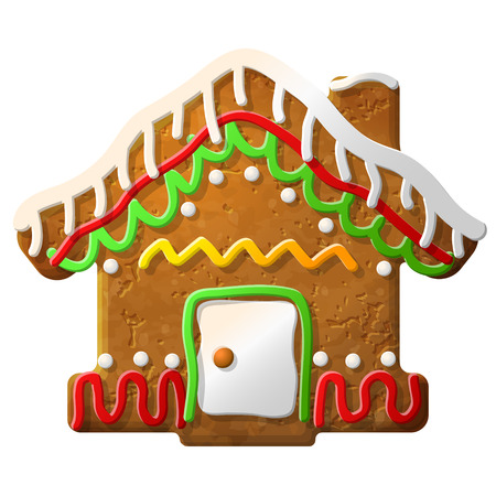 new year s eve: Gingerbread house decorated colored icing  Holiday cookie in shape of christmas house  Vector illustration for new year s day, christmas, winter holiday, cooking, new year s eve, food, silvester, etc