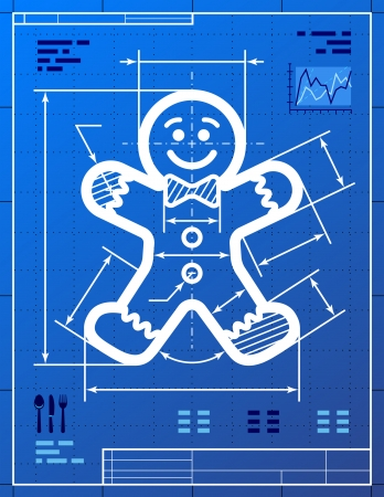 new year's: Gingerbread man symbol like blueprint drawing  Drafting of gingerbread man sign on blueprint paper  Vector image for new year s day, christmas, technology, winter holiday, design, new year s eve, etc