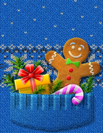 Gingerbread man, gift, candy cane in knitted pocket  Jumper fragment with Christmas symbols and pattern  Vector image for new year s day, christmas, winter holiday, new year s eve, silvester, etc