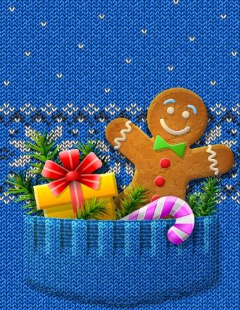 sueter: Hombre de pan de jengibre, regalo, bastón de caramelo en el fragmento del puente de bolsillo hecho punto con imagen Vector patrón símbolos de la Navidad y de Año Nuevo s, navidad, vacaciones de invierno, año nuevo s eve, silvester, etc Vectores
