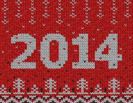 Card of New Year 2014 with knitted texture  Christmas jumper fragment with 2014 New Year  Qualitative vector  EPS-10  illustration for new year s day, christmas, winter holiday, new year s eve, silvester, etc