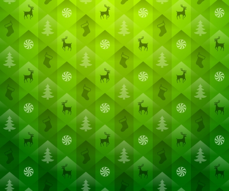 new year s eve: Christmas green background  New Year green pattern with deers and christmas tree  Qualitative vector  EPS-10  backdrop for new year s day, christmas, decoration, winter holiday, design, new year s eve, silvester, etc