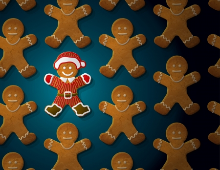 Gingerbread man is decorated in christmas suit  Concept with group of holiday cookies  Qualitative vector  EPS-10  illustration for new year s day, christmas, winter holiday, cooking, new year s eve, food, silvester, etc Illustration