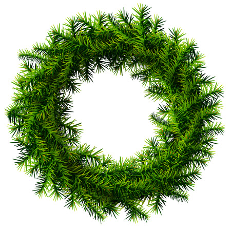 new year s day: Christmas wreath without decoration  Empty wreath of pine branches isolated on white background  Qualitative vector  EPS-10  illustration for new year s day, christmas, decoration, winter holiday, design, new year s eve, silvester, etc