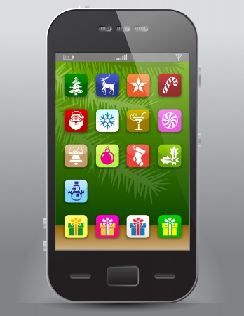 Mobile phone with christmas icons  Front view of smartphone with christmas symbols like apps icons  Qualitative vector  EPS-10  illustration for new year s day, christmas, winter holiday, new year s eve, technology, communication, etc Vector