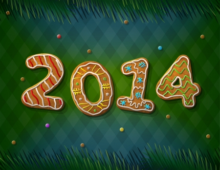 silvester: Card of New Year 2014 in shape of gingerbread  Cookies with pine branches on striped background  Qualitative vector  EPS-10  illustration for new year s day, christmas, winter holiday, new year s eve, silvester, etc