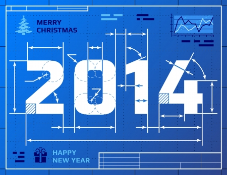 Card of New Year 2014 like blueprint drawing  Stylized drawing of 2014 on blueprint paper  Qualitative vector  EPS-10  illustration for new year s day, christmas, winter holiday, new year s eve, silvester, etc