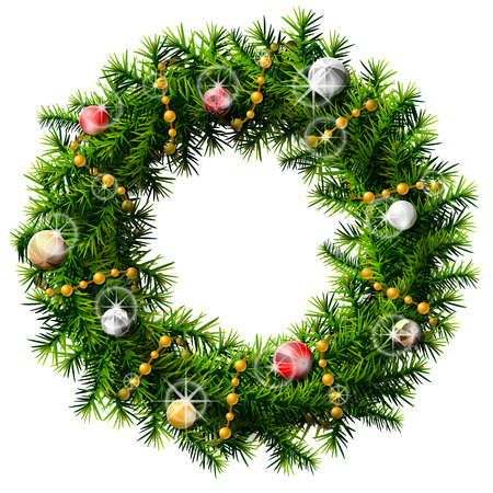 Christmas wreath with decorative beads and balls  Decorated wreath of pine branches isolated on white background  Qualitative vector  EPS-10  illustration for new year s day, christmas, decoration, winter holiday, design, new year s eve, silvester, etc Illustration