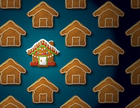 Gingerbreads in shape of christmas house with icing  Concept with group of holiday cookies  Qualitative vector  EPS-10  illustration for new year s day, christmas, winter holiday, cooking, new year s eve, food, silvester, etc